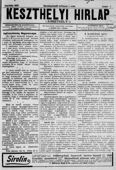 Keszthelyi Hirlap 1905.01.01.