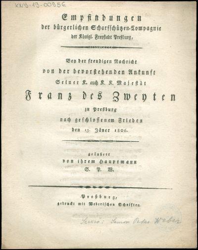 Empfindungen der bürgerlichen Scharfschützen-Compagnie der Königl. Freystadt Pressburg