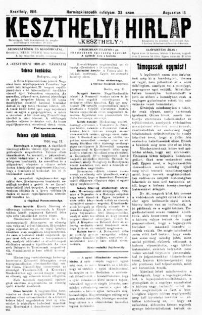 Keszthelyi Hírlap 1916.08.13.