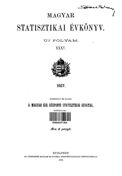 Magyar statisztikai évkönyv 1927. Ú. F. 35.