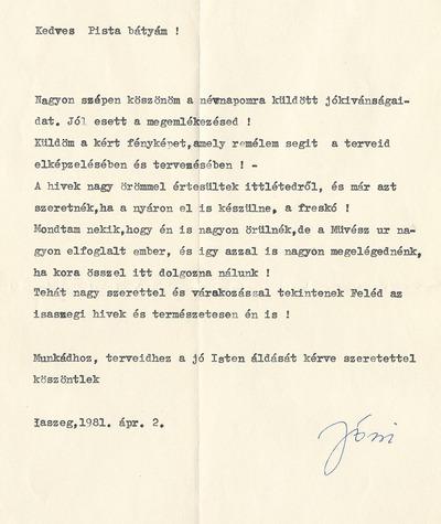 Takács István isaszegi levelezése 2