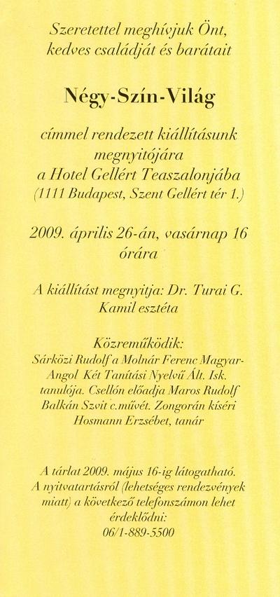 Meghívó a Négy-Szín-Világ című kiállításra