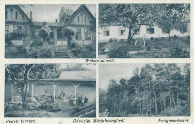 Weiser Panzió - képeslap, Máriabesnyő,
