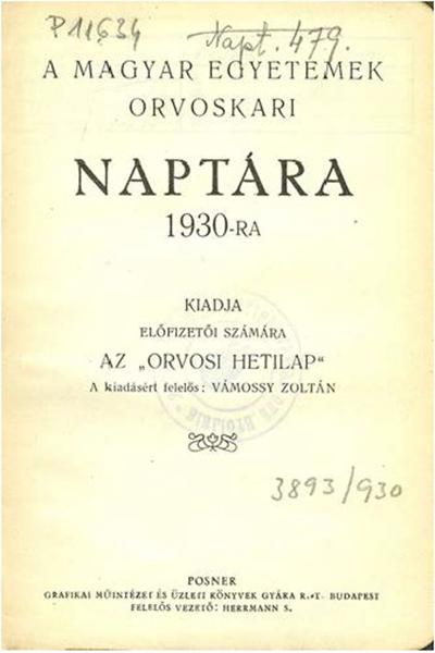 A magyar egyetemek orvoskari naptára 1930-ra