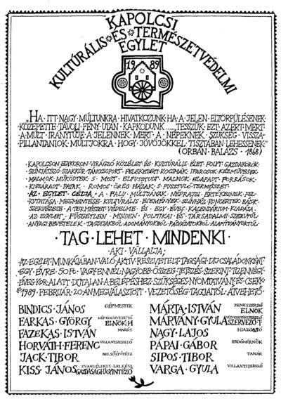 Egyleti alapító plakát