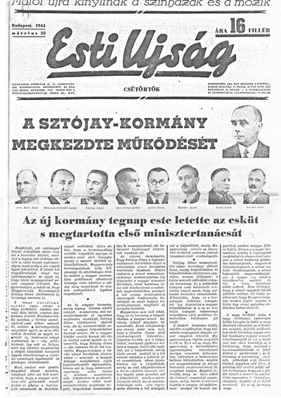 Esti Ujság - 1944. március 23. - címlap + 2.oldal
