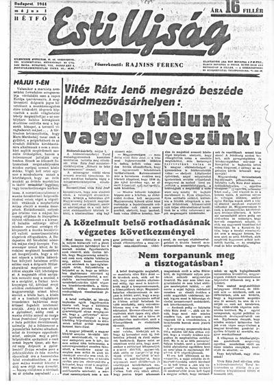 Esti Ujság - 1944. május 1. - címlap