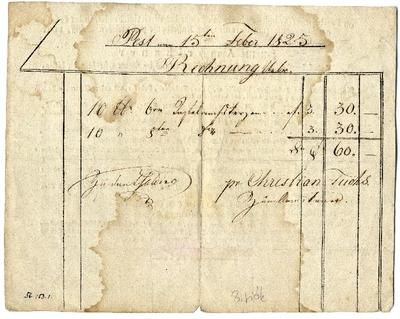 Fuchs dohánygyári lerakata (Az amerikaihoz) számlája és hirdetése, 1825