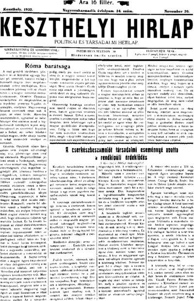 Keszthelyi Hírlap 1932.11.20.
