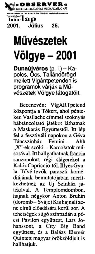 Művészetek Völgye - 2001