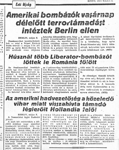 Esti Ujság - 1944. május 8. - újságcikk