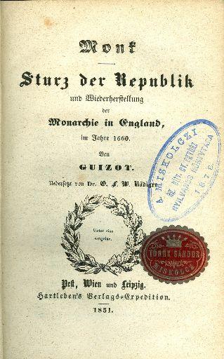 Sturz der Republik und Wiederherstellung der Monarchie in England, im Jahre 1660