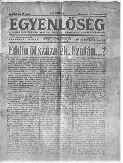 Egyenlőség - 1927. november 19. - címlap