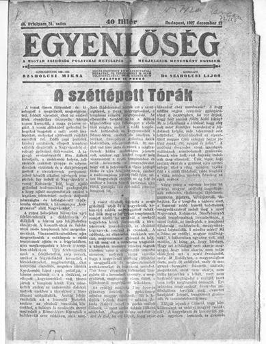 Egyenlőség - 1927. december 17. - címlap