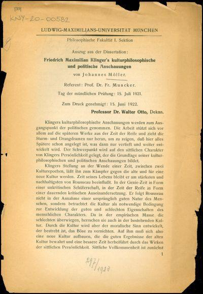 Friedrich Maximilian Klinger's kulturphilosopische und politische Anschauungen