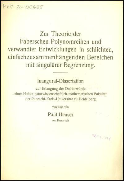 Zur Theorie der Faberschen Polynomreihen und verwandter Entwicklungen in schlichten, einfachzusammenhängenden Bereichen mit singulärer Begrenzung