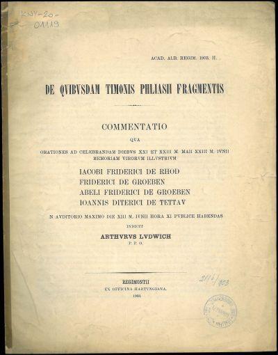 De quibusdam Timonis Phliasii fragmentis