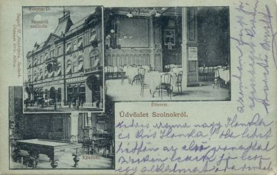 Nemzeti Szálloda részletei - képeslap, Szolnok, 1900