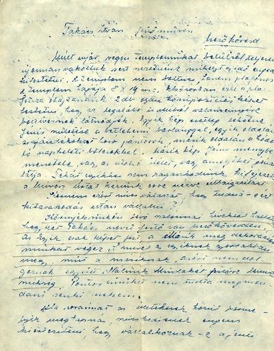 Takács István viszlói levelezése 1