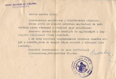 Takács István zalaegerszegi levelezése 2