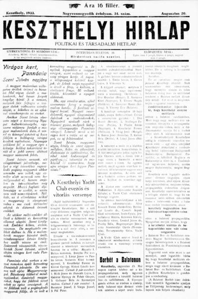 Keszthelyi Hírlap 1933.08.20.