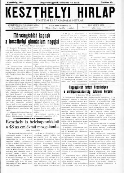 Keszthelyi Hírlap 1933.10.15.