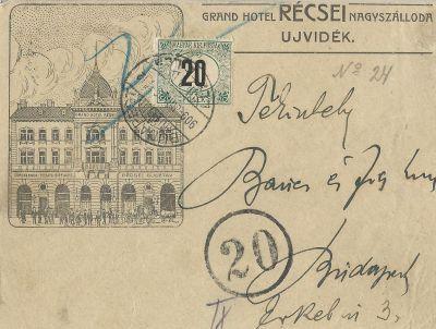Récsei  Nagyszálloda - képeslap, Újvidék, 1909