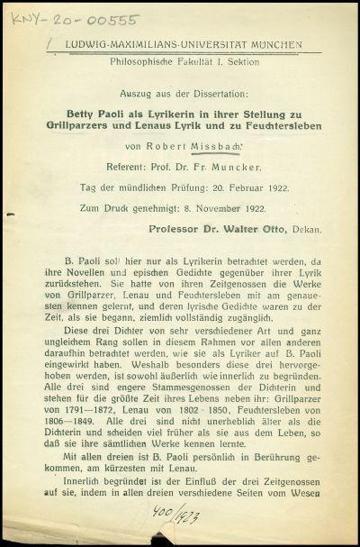 Betty Paoli als Lyrikerin in ihrer Stellung zu Grillparzers und Lenaus Lyrik und zu Feuchtersleben