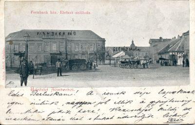 Elefánt Szálloda és a Fernbach ház - képeslap, Zombor, 1901