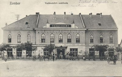 Vadászkürt Szálloda - képeslap, Zombor, 1912