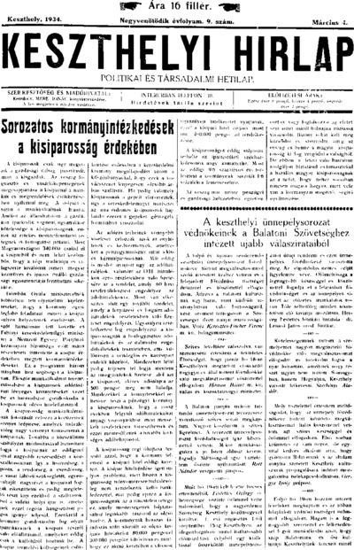 Keszthelyi Hírlap 1934.03.04.