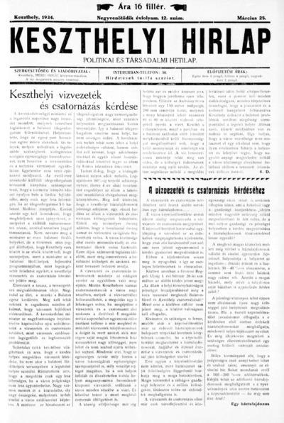 Keszthelyi Hírlap 1934.03.25.