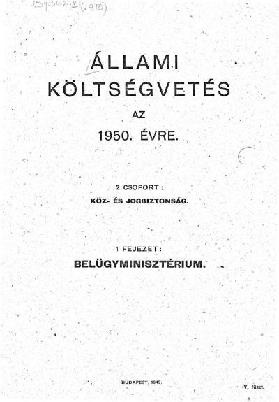 Állami költségvetés az 1950. évre V. füzet