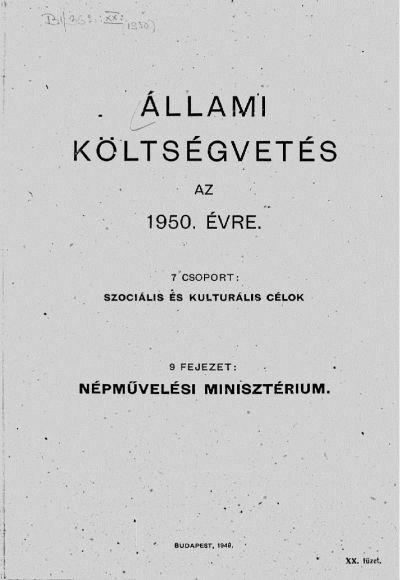 Állami költségvetés az 1950. évre XX. füzet