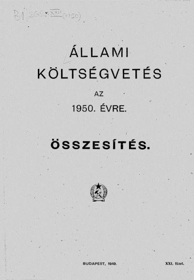 Állami költségvetés az 1950. évre XXI. füzet