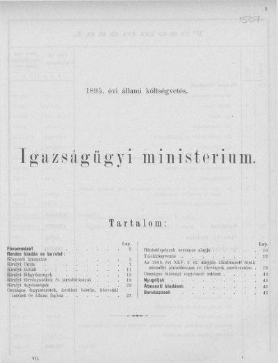 Költségvetés a Magyar Korona országai részére az 1895. évre VII.