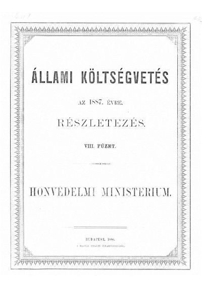 Költségvetés a Magyar Korona országai részére az 1887. évre VIII.