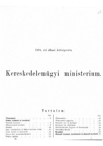 Költségvetés a Magyar Korona országai részére az 1894. évre IV.