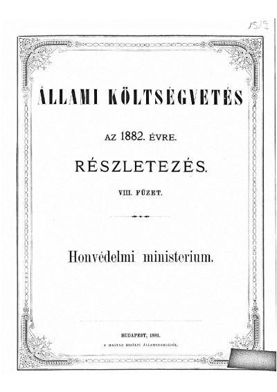 Költségvetés a Magyar Korona országai részére az 1882. évre VIII.