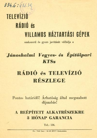 Televízió, rádió és háztartási gépek javítása