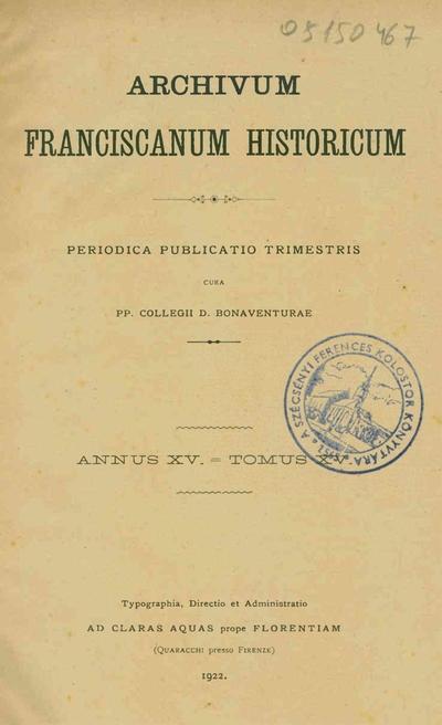 Archivum Franciscanum Historicum