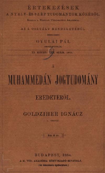 A muhhamedán jogtudomány eredetéről