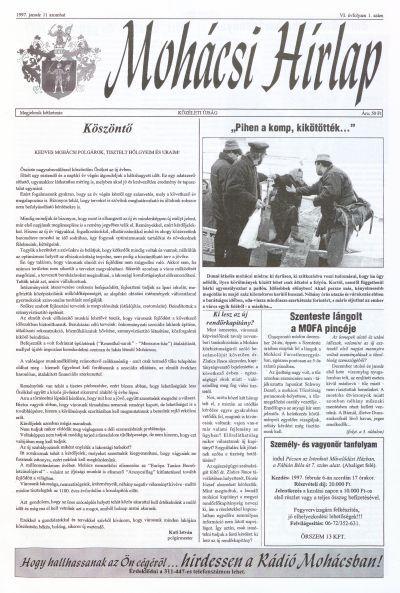 Mohácsi Hírlap 1997 VI. évfolyam 1. szám