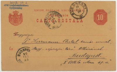 Veress Endre postai levelezőlapja Herrmann Antalnak