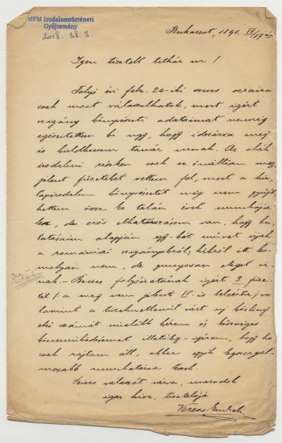 Veress Endre levele Herrmann Antalnak