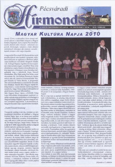 Pécsváradi Hírmondó 2010 XX. évfolyam 2. szám
