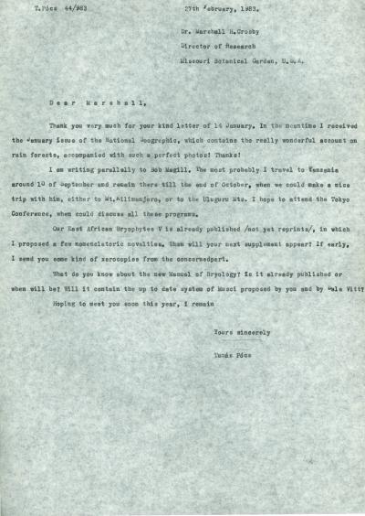 Dr. Pócs Tamás levelezése
