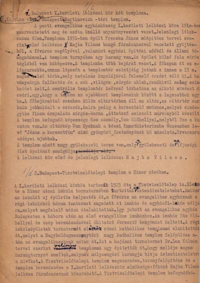 Bányai Egyházkerület. Budapesti Egyházmegye