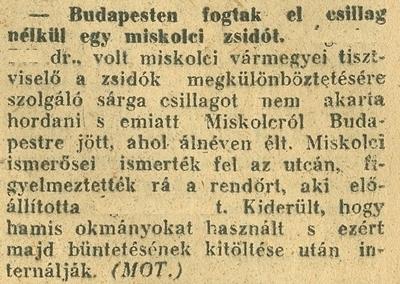 Budapesten fogtak el csillag nélkül egy miskolci zsidót- újságcikk 1944.