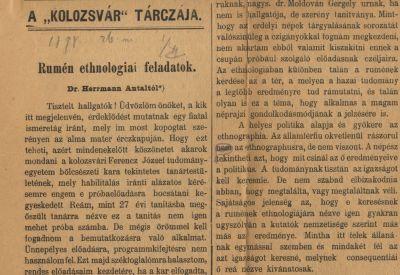 Herrmann Antal újságcikke